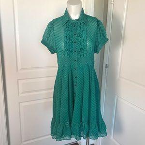 MOON COLLECTION GREEN RUFFLE DRESS
